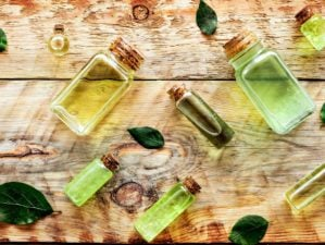 Tea tree oil in bottles on rustic wooden background | Tea Tree Oil Uses | Essential Oils For Survival | Featured