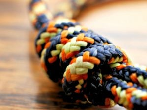 Featured | Braided nylon rope on wood grain | Best Knots For Camping And Survival