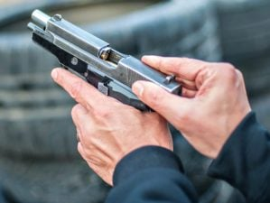 Featured | Close-up detail view of pistol, handgun, gun malfunctions | Dry Fire Practice Drills | Ways To Improve From Home