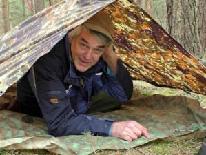 """Camping in a tent 