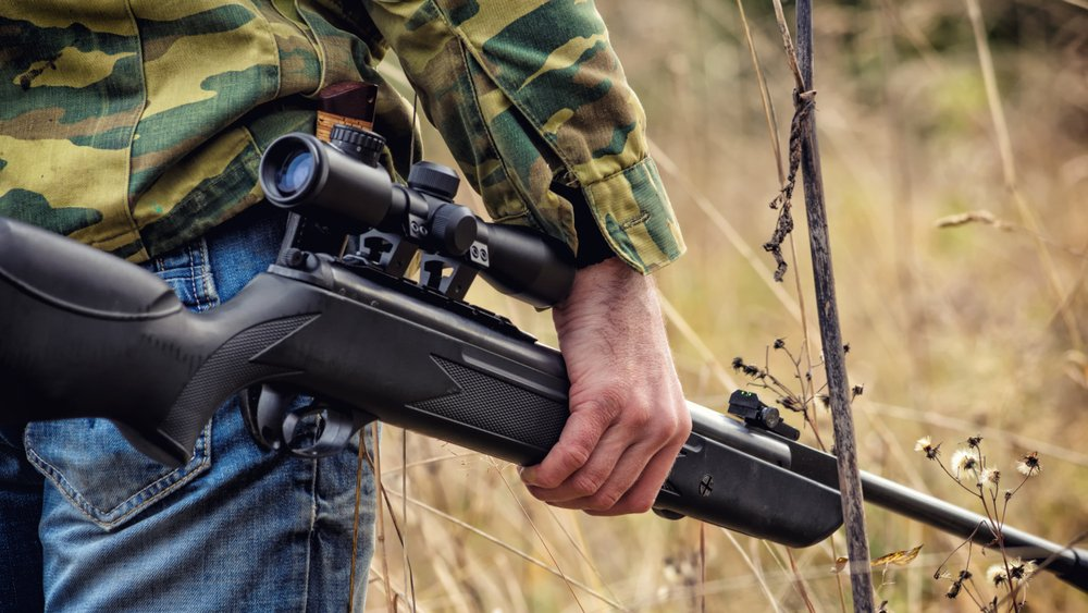Male Shooter Engaged In Sports Hunting with an Air Rifle   Do Air Guns Have Value to a Prepper?