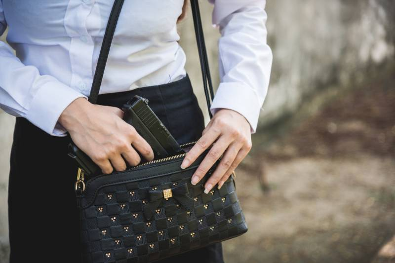 woman-conceal-carry-weapon-hand-holding | gun purse