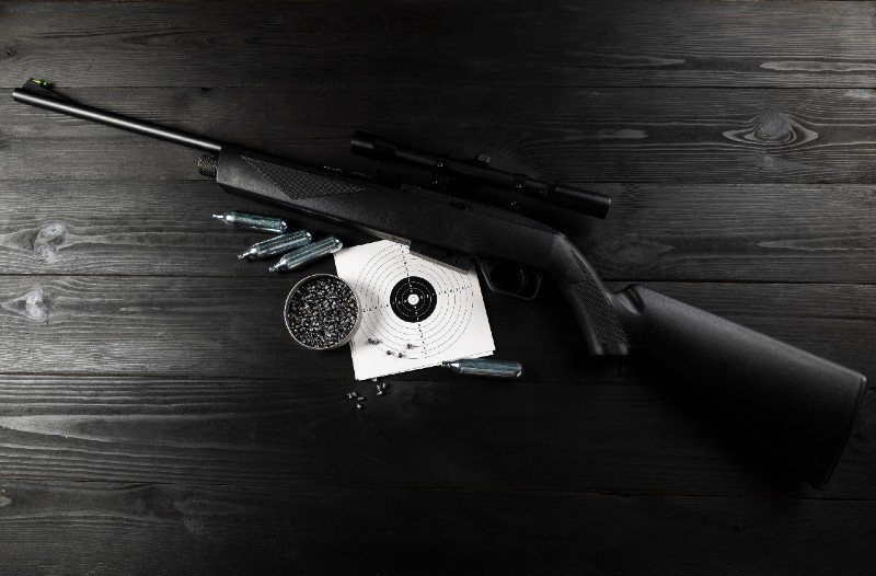 air rifle on co2 and ammunition on the shooting range | airgun