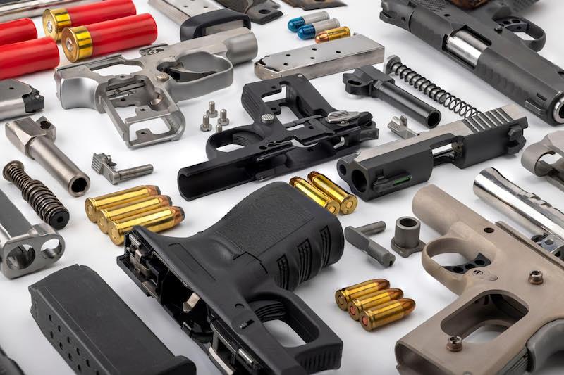 Parts of pistol Hand guns assembly on white background | ruger mark iv 22/45 lite