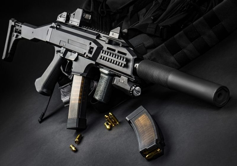 Modern automatic rifle with a silencer 9mm carbines SS