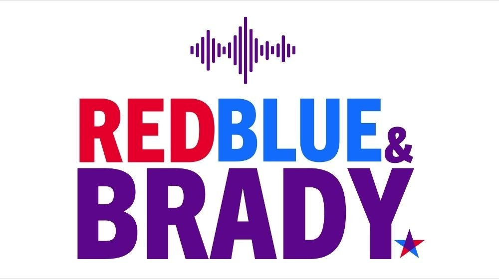 red blue and brady podcast banner
